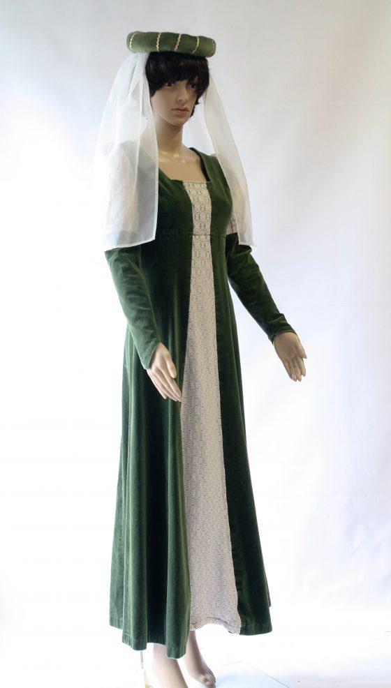 Middeleeuwse jurk met sluier